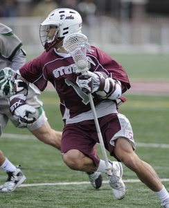 JR in action against Stevenson last year in some college lax action.