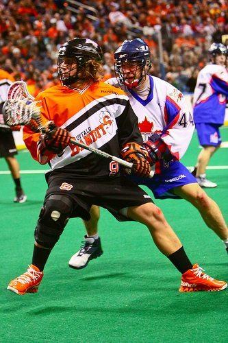 NLL Buffalo Bandits Mark Steenhuis Chris Scherrer lacrosse box lax