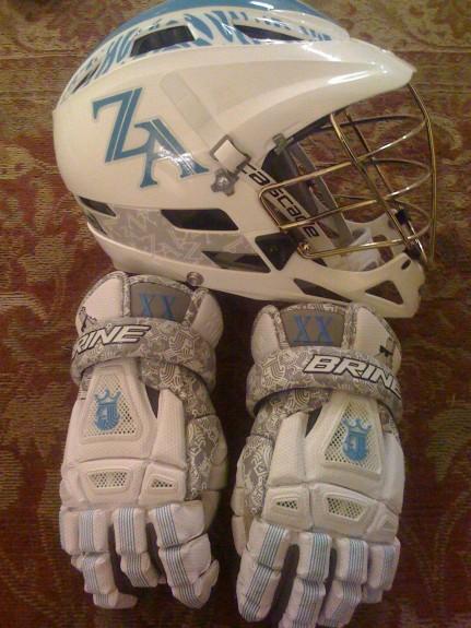 Zebra Apparel Lacrosse helmet cascade gloves brine lax