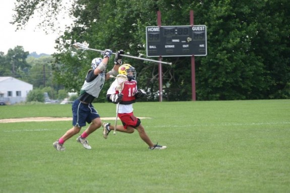 britt over the head lacrosse lax summer check