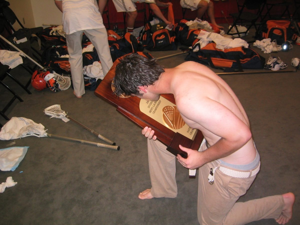 britt trophy kiss lacrosse ncaa locker room