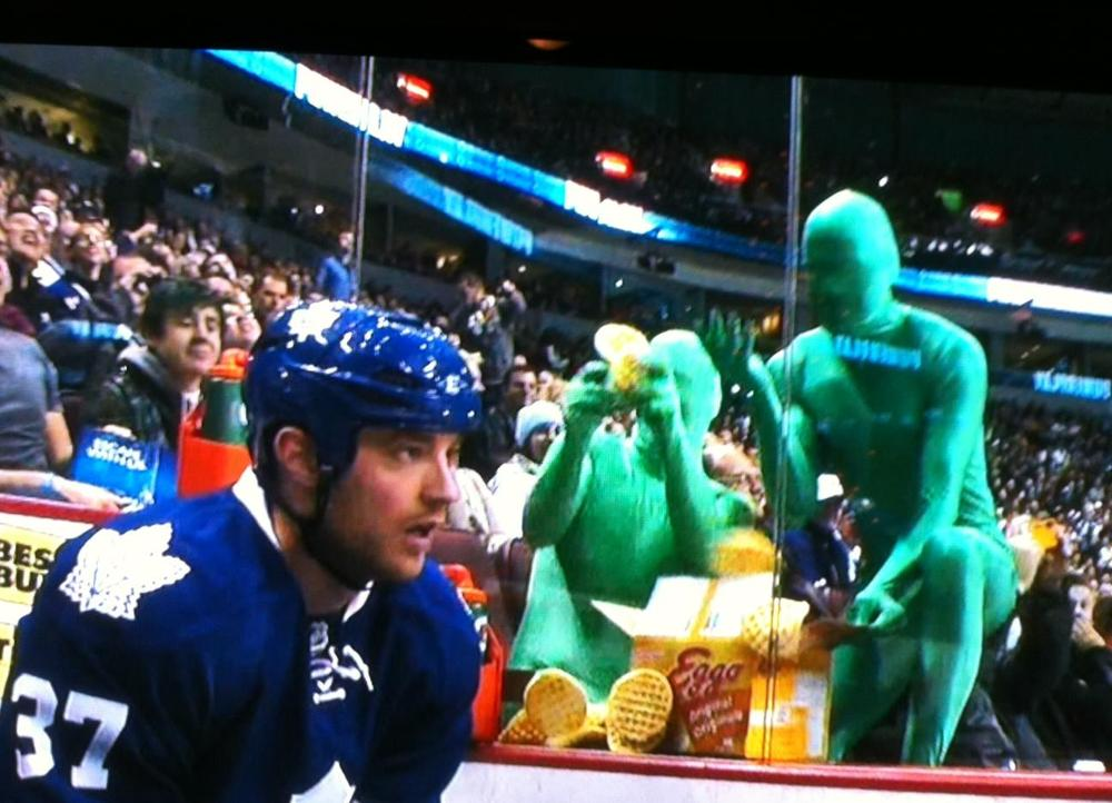 Green men body suit penalty box hockey toronto
