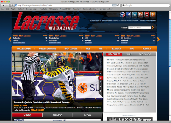 LaxMagazine Website redesign