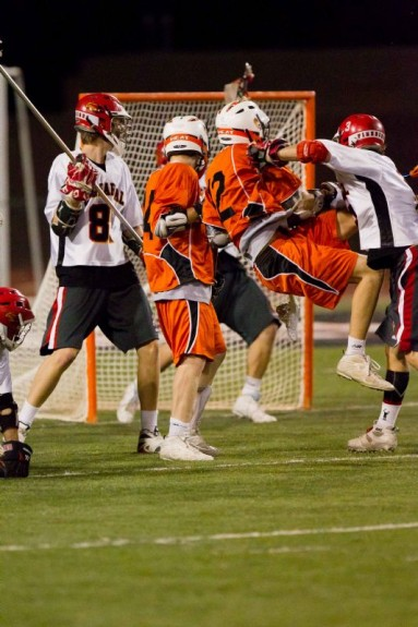 post goal lacrosse action