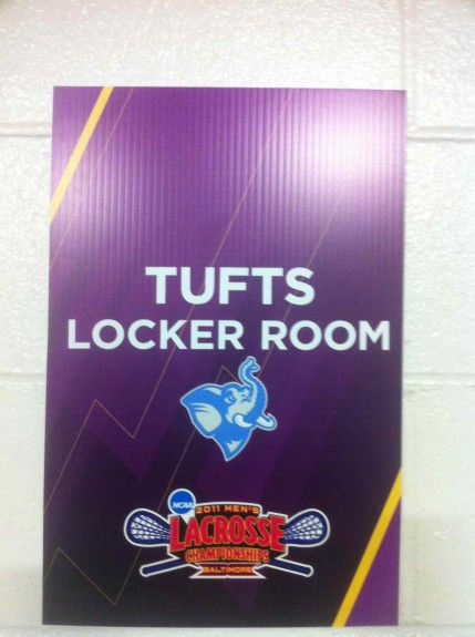 Tufts Locker Room sign