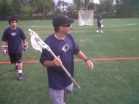 Coach Rick Mercurio walks the TLA through their offensive sets.