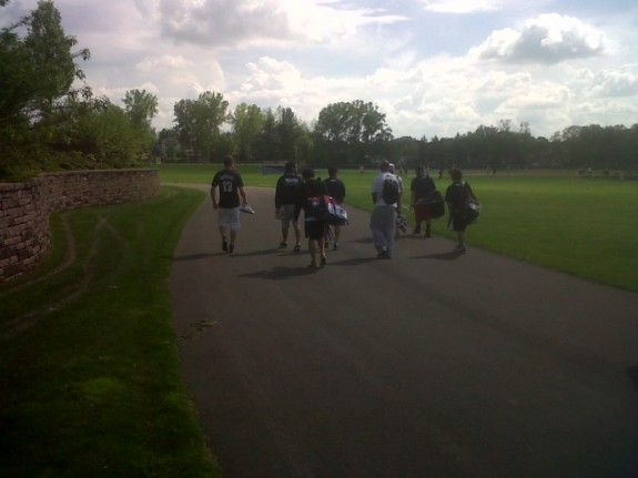 Walking out to practice.