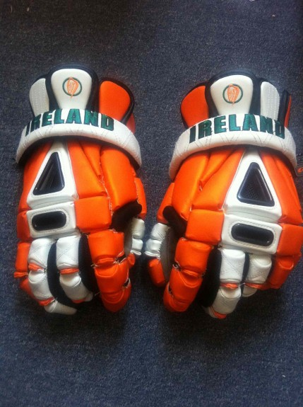 Ireland WILC helmet orange facemask lacrosse lax gait gloves