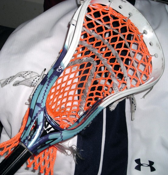dye and string lacrosse head