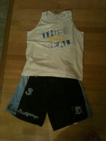 'This is Real' tank and Scallywag shorts