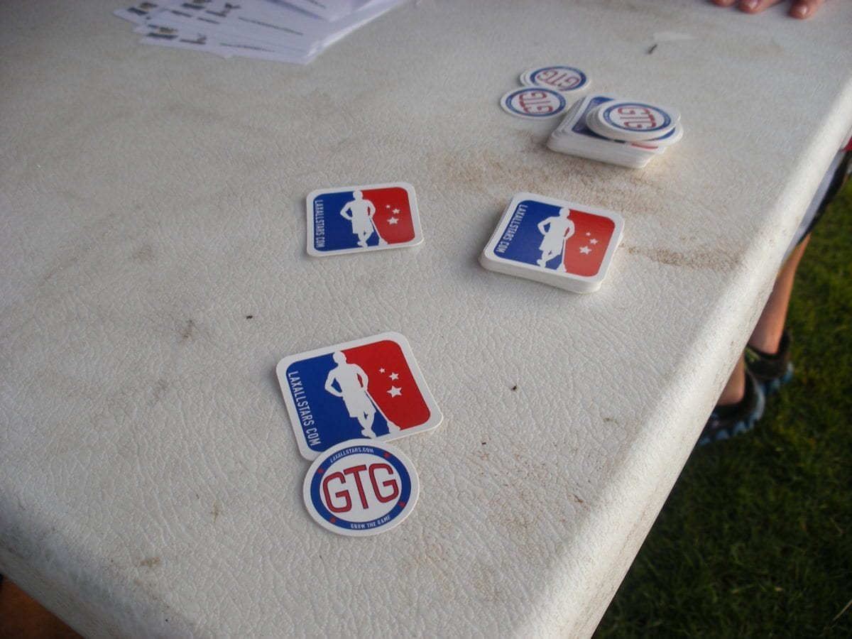 LAS stickers at lacrosse camp
