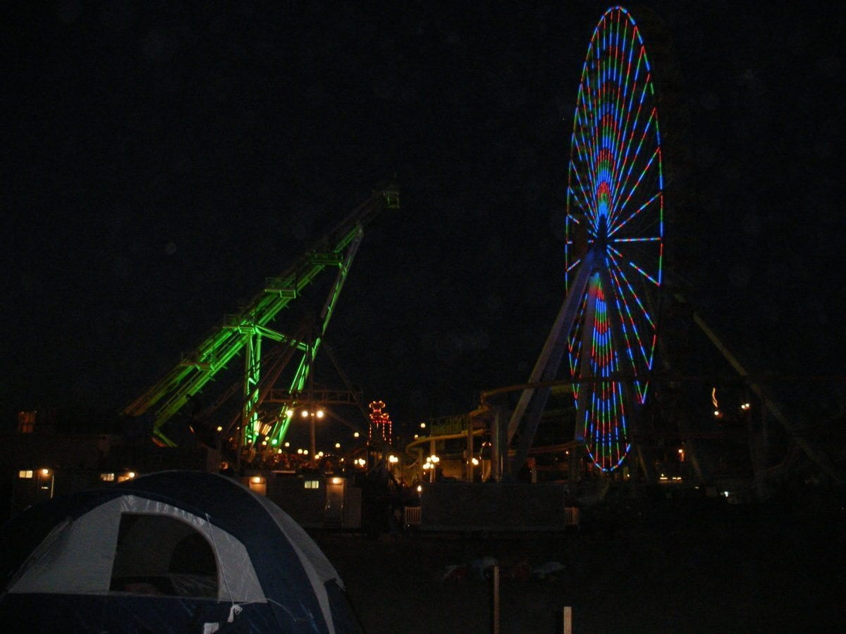The Amusement Boardwalk at night.  Pretty!