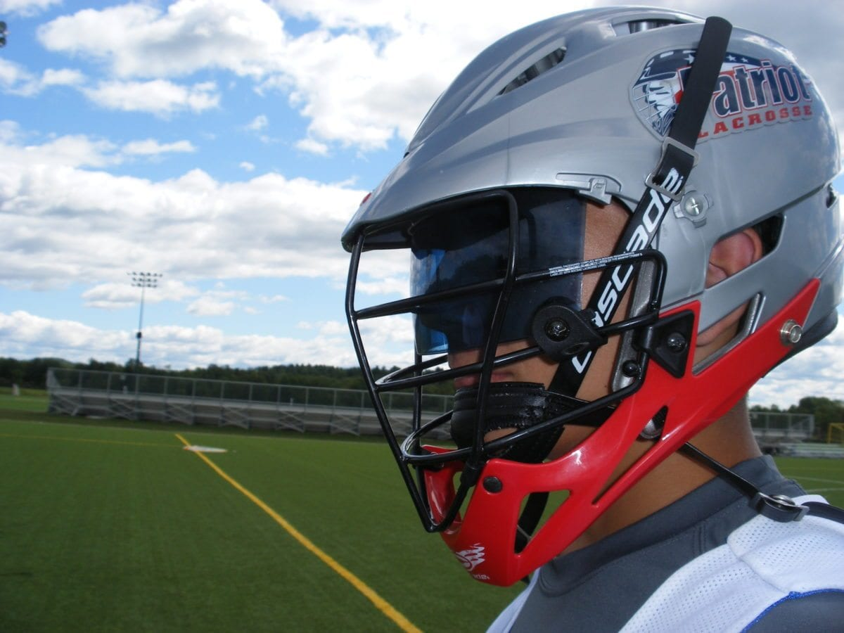Patriot Lacrosse helmet with visor