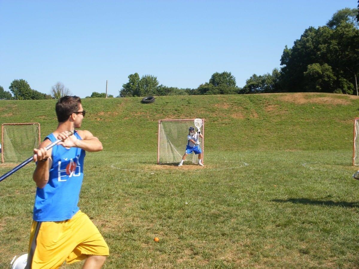 Austin Kaut in goal.  Penn State lax evo camp