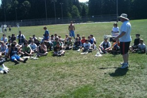Coach Rosenberg preparing the campers for the day.