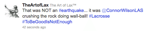 earthquake lacrosse lax tweet