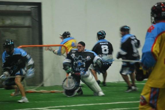 -MILA box lacrosse Grand Rapids Chicago no helmet goalie