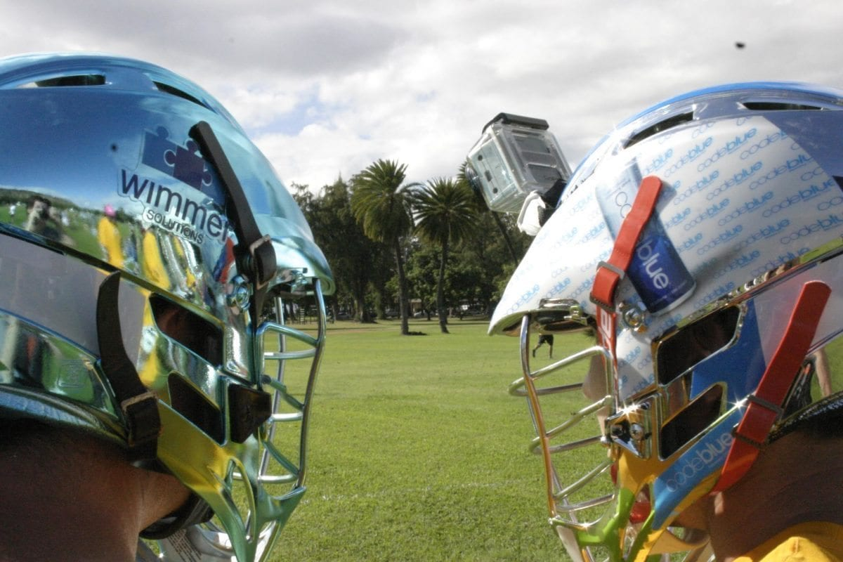 Hawaii Lacrosse Wimmer chrome helmet