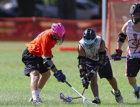 Malcolm Chase Hawaii lacrosse stick break check