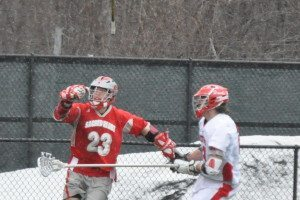 Hartford Stony Brook Lacrosse takeaway ball down check
