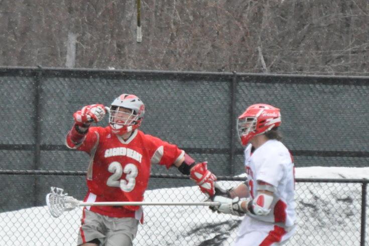 Hartford Stony Brook Lacrosse takeaway ball down check