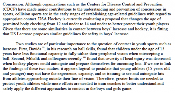 US Lacrosse position paper on youth participation