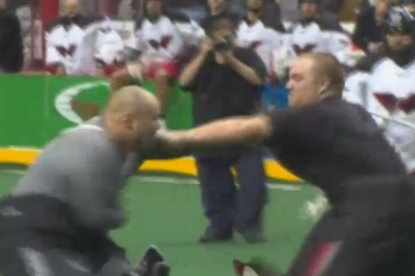 NLL goalie fight