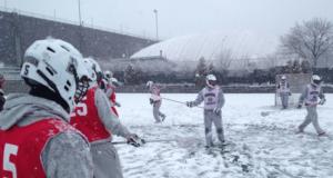 Brown Lacrosse Practice snow
