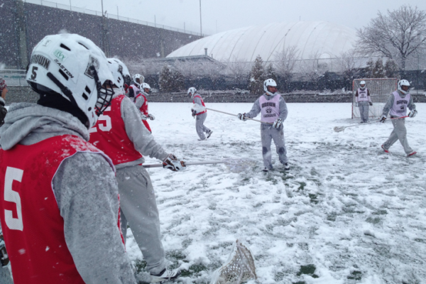 Brown Lacrosse Practice snow