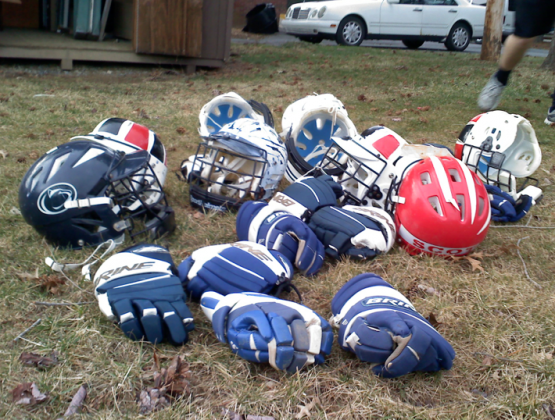 old school lacrosse helmets and gloves