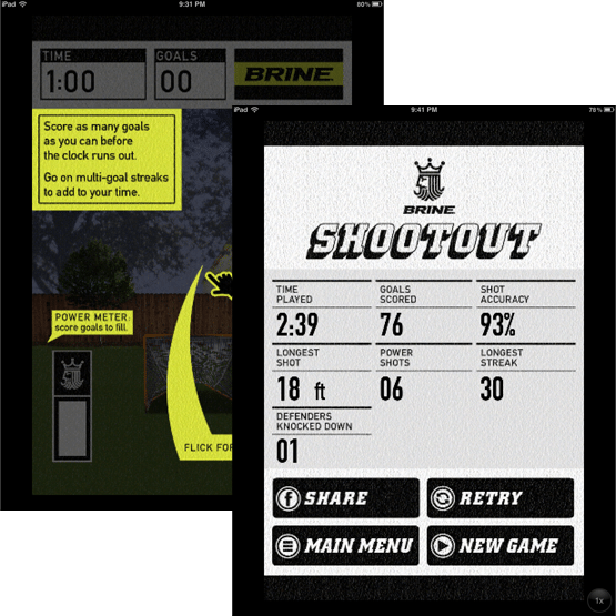 Brine Mobile App Lacrosse Game