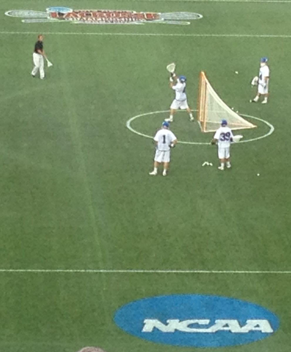 duke lacrosse goalie warm up
