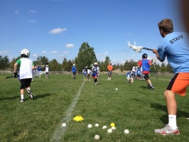 Coach Phil running a ground ball drill