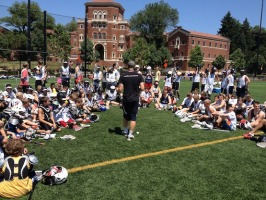 Coach Karalunas running through the afternoon with the campers