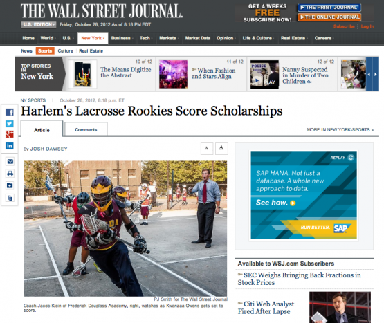 Harlem Lacrosse featured in The Wall Street Journal