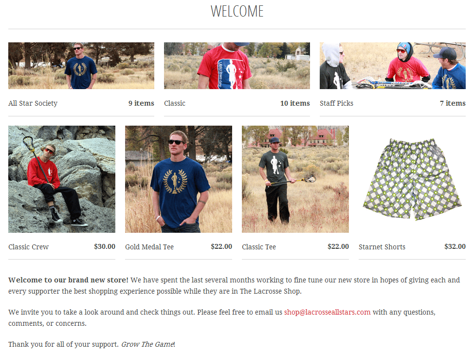 The Lacrosse Shop: Welcome Page