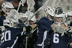 Yale University celebrates a dramatic overtime win at Stony Brook. April 16, 2012.