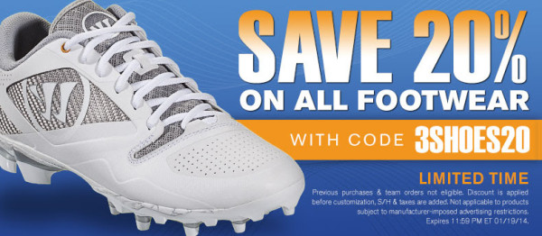 20% off all lacrosse footwear at LACROSSE.COM