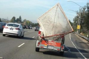 U-Haul Lacrosse Goals on the Highway in Los Angeles