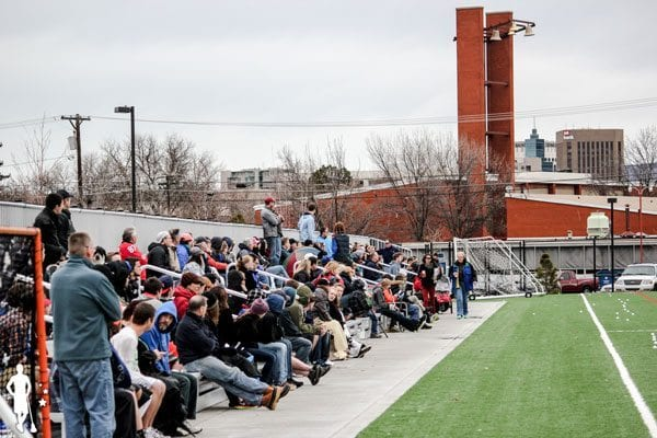 Peanut-Gallery crowd fans at SFU vs. BYU lacrosse game in Boise, Idaho