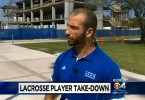 Lynn University lacrosse Brandon Rothstein tackle hit and run