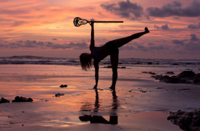 Yoga lacrosse in the sunset