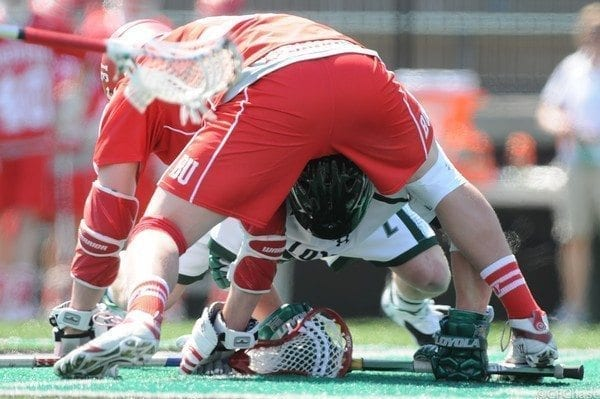 loyola BU lacrosse face off rule changes