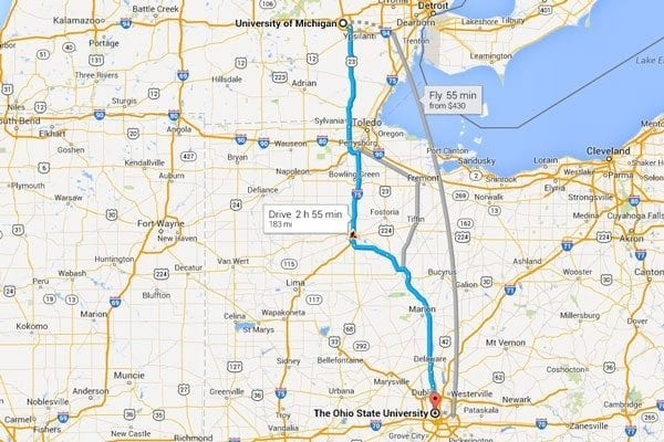 Map from Ohio state to michigan