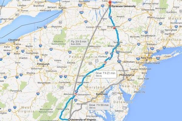 Syracuse to virginia map