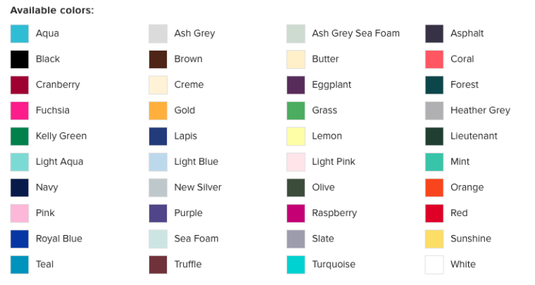 Custom Tee Color Chart