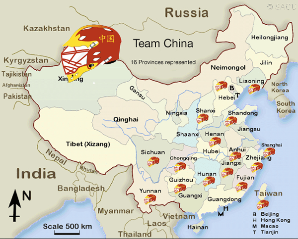 Map of chinese lacrosse clubs