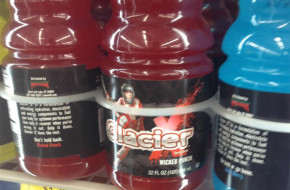 Glacier X Sports Drink features lacrosse player on bottle