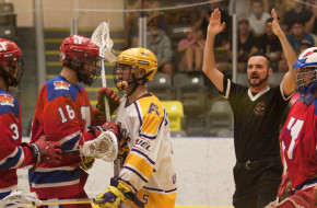 Coquitlam Adanacs vs. New Westminster Salmonbellies BCJALL box lacrosse Jr. A Photo Credit: Paul Sparrow