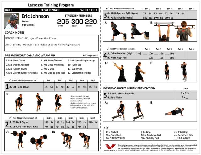 Volt Athletics - Example Lacrosse Workout